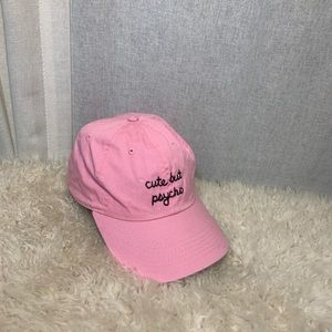 CUTE BUT PSYCHO EMBROIDERED PINK BASEBALL HAT